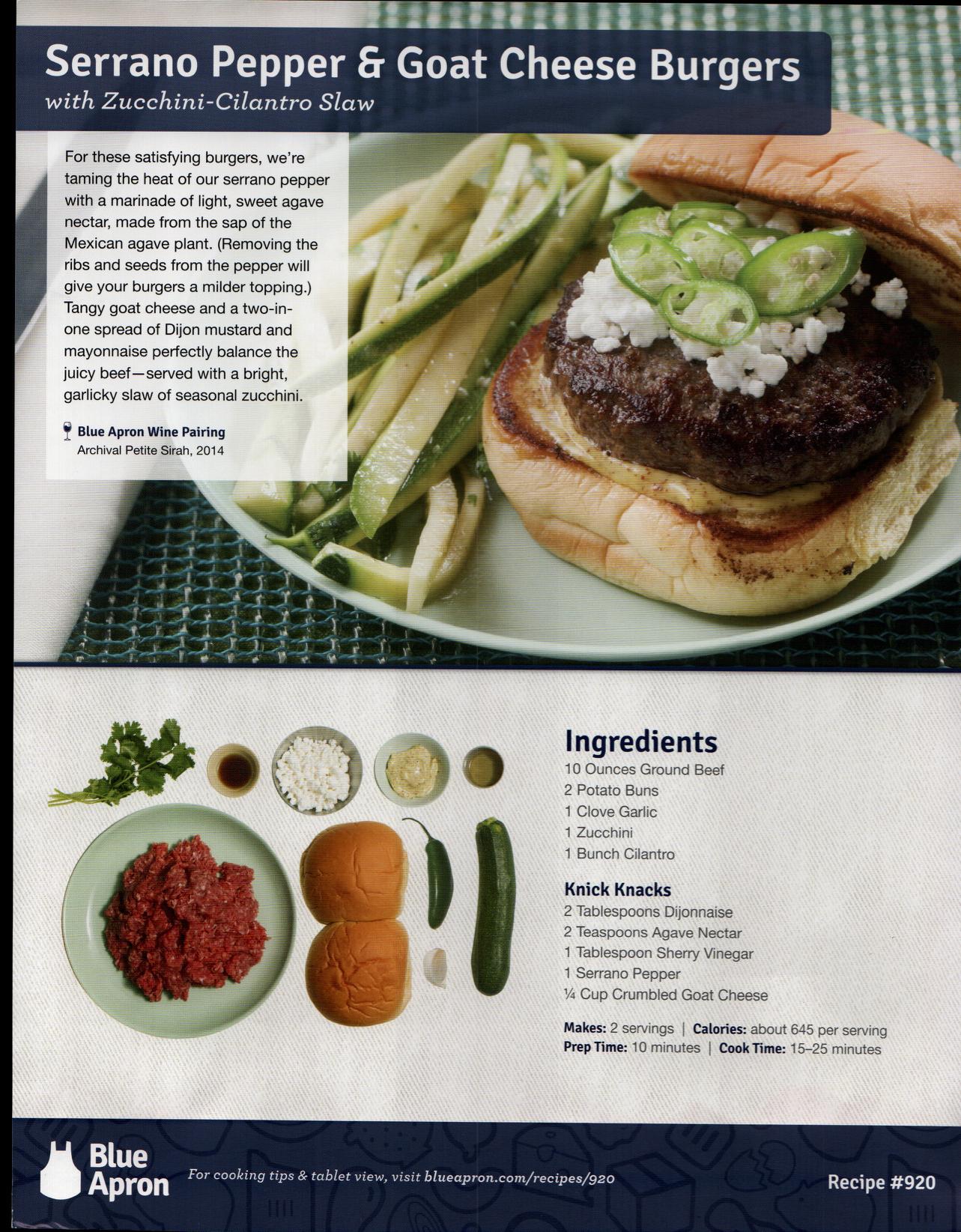 Blue Apron - Serrano Pepper & Goat Cheese Burgers w ...