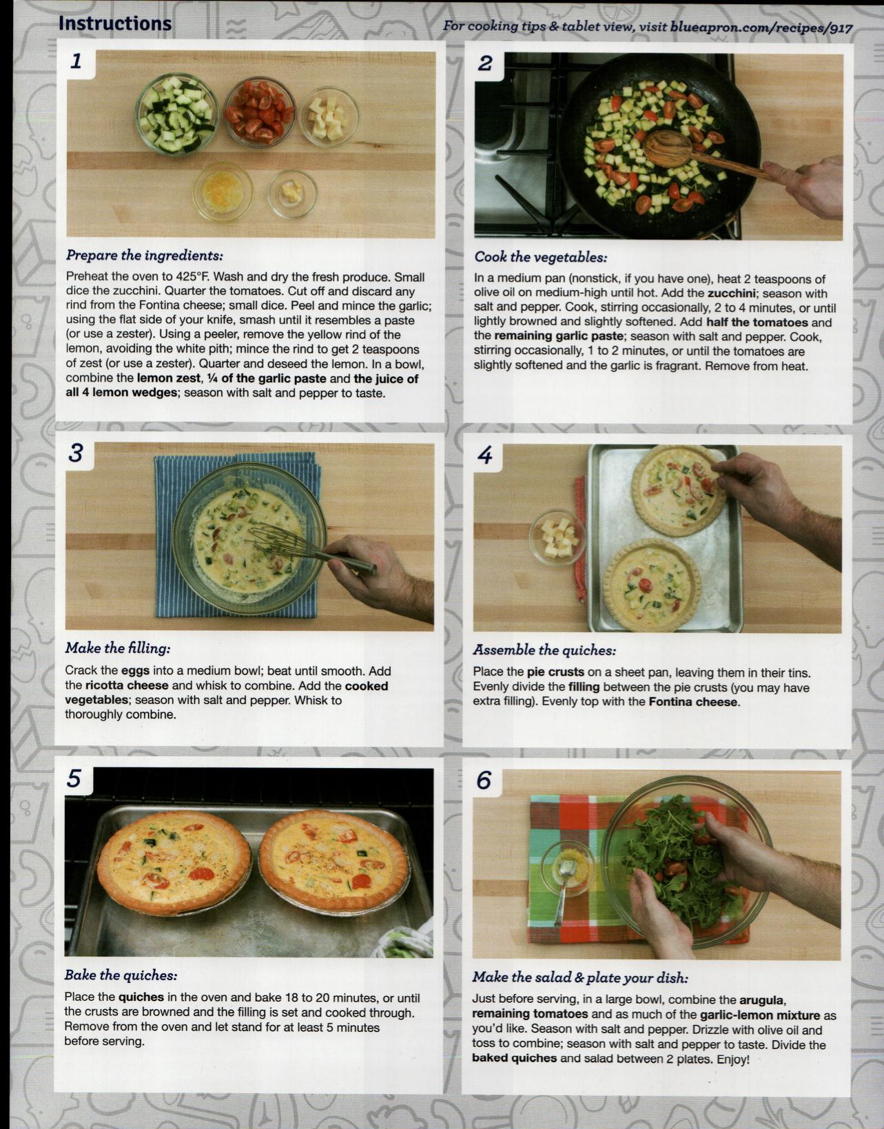 Blue apron zucchini - Zucchini Cherry Tomato Quiches W Tomato Arugula Salad