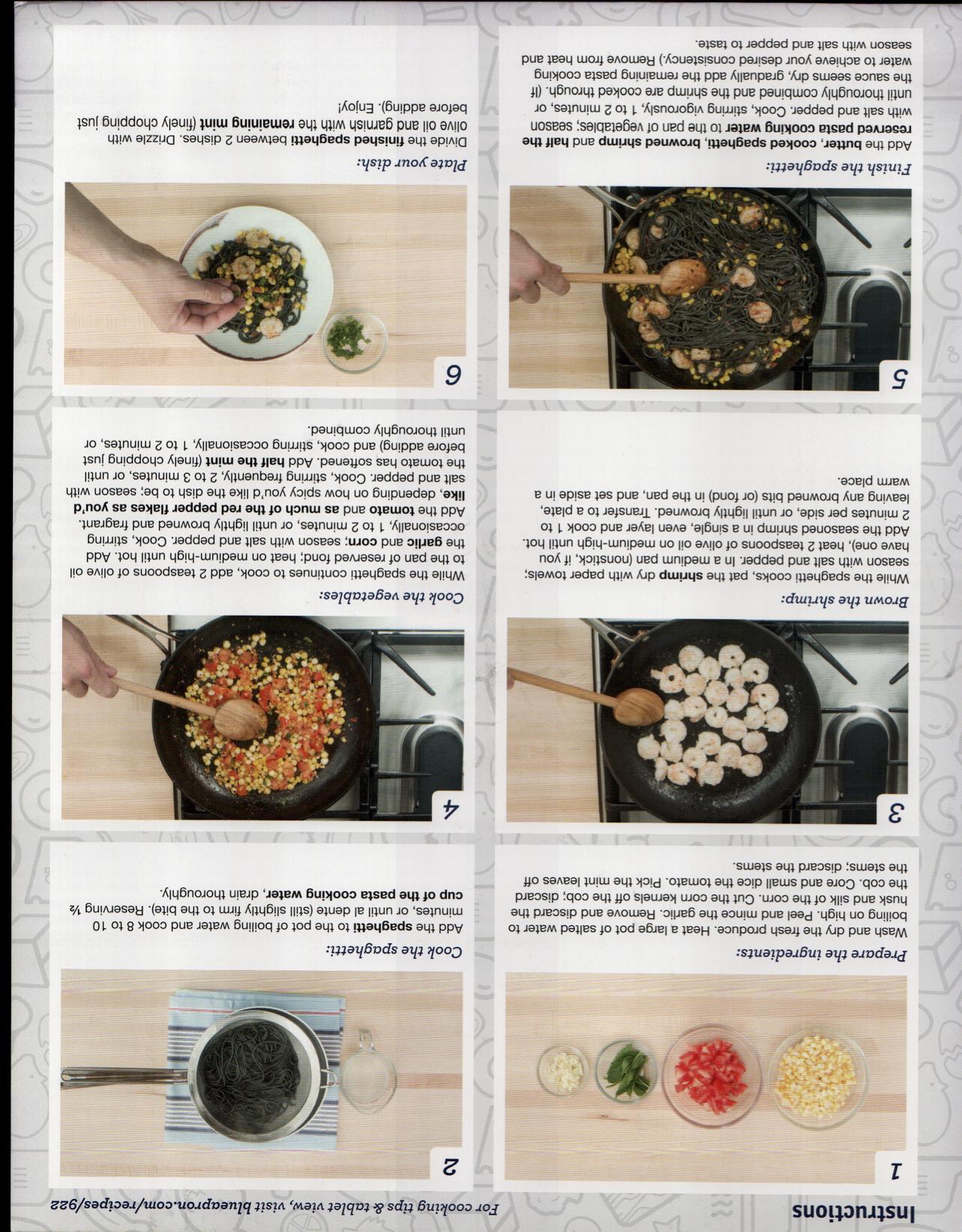 Blue apron vegetables - Blue Apron Shrimp Squid Ink Spaghetti W Summer Vegetables Mint